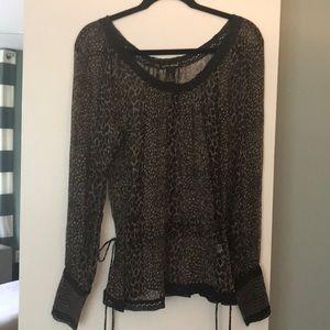Lucky Brand silk leopard print blouse